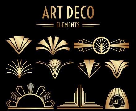 Geometric Art Deco Ornaments or Decoration Elements