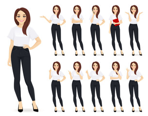 Casual business woman character in different poses set vector illustration