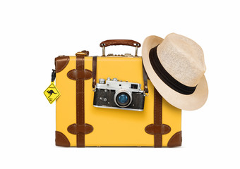 Retro travel accesories, suitcase, camera and hat, isolated on white background