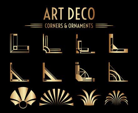 Geometric Art Deco Corner and Ornament Set