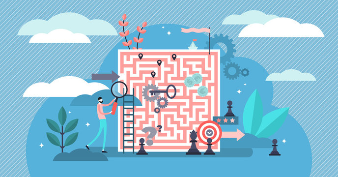 Problem solving vector illustration. Tiny solution finding persons concept.