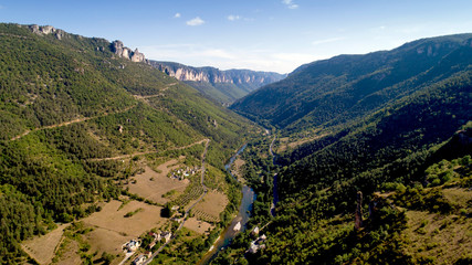 Aerial view of the Gorges du Tarn in Les Vignes, Lozere