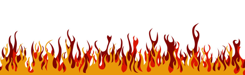 Colorful flames on a white background. Banner.