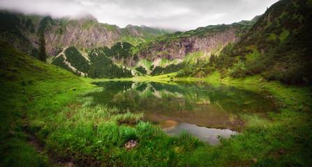 Beautiful mountain lake at dawn