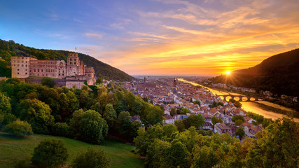 Spectacular sunset in Heidelberg, Germany