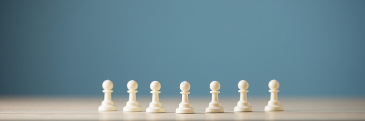 Pawn chess figures in a row