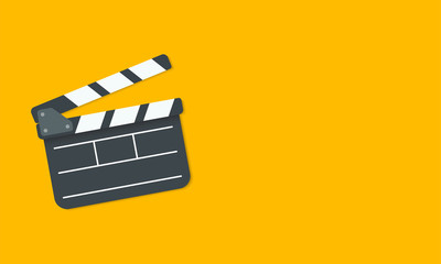 Open clapperboard isolated on yellow background. Vector illustration