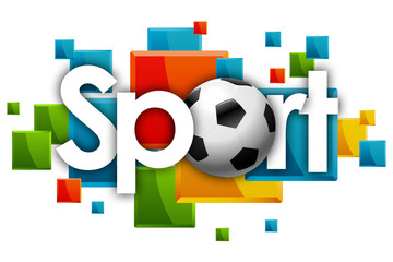 sport word in colored rectangles background