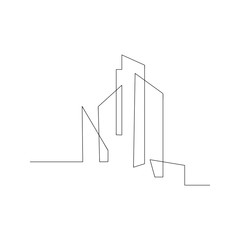 continuous line drawing of building cityscape. isolated sketch drawing of building cityscape line concept. outline thin stroke vector illustration