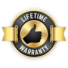 Gold Lifetime Warranty Badge With Ribbon