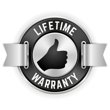 Silver Lifetime Warranty Badge With Ribbon