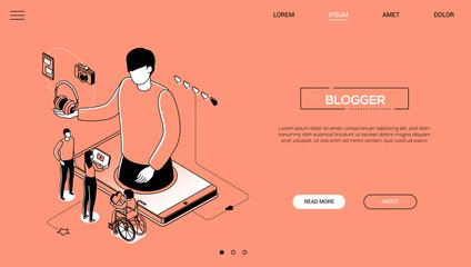 Blogging - line design style isometric web banner