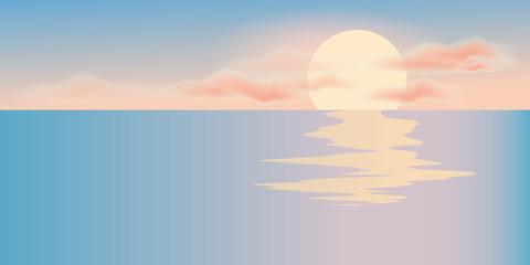 Sunrise and sea landscape. Golden hour in the morning. Vector illustration.
