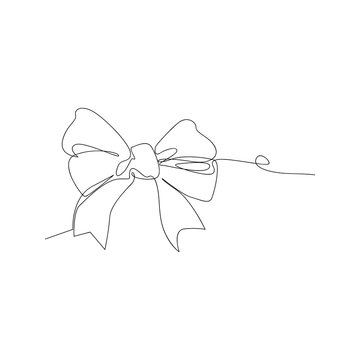 continuous line drawing of decorative ribbon bow. isolated sketch drawing of decorative ribbon bow line concept. outline thin stroke vector illustration