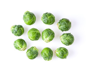 Group of Brussel Sprouts isolated on white background. top view