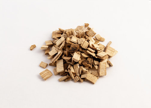 smoking wood chips for BBQ on white background