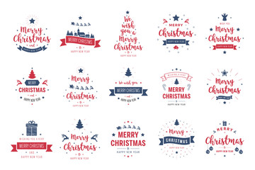 Wall Mural - Merry Christmas. Happy New Year, typography lettering badge emblems quotes set collection. Vector logo design for postcard, invitation, greeting card,  poster, gift.