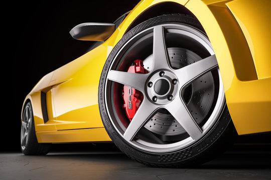 Yellow sports car . Wheel and brakes closeup. 3d render