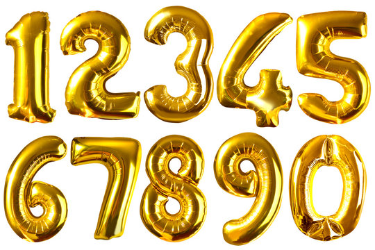 Golden balloon numbers isolated on white for your design