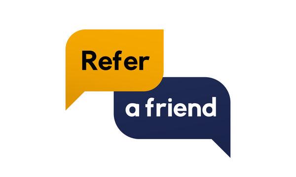 Reffer a friend banner vector design. Refferal system.
