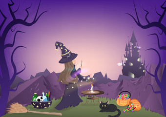 Tuinposter Violet Halloween night, witch magic, dark forest and mountain landscape, cartoon character, fantasy story book, greeting card background vector