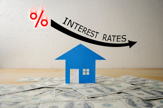 BLACK ILLUSTRATION SHOWS DECREASING OF INTEREST RATES / FINANCIAL CONCEPT