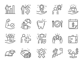 Employees benefits line icon set. Included icons as Teamwork, people relationship, Growth chart, staff perks, insurance and more.