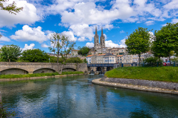 A view of Niort from the quay of Sevre Niortaise river, Deux-Sevres, Poitou-Charentes region, France