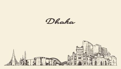Fototapete - Dhaka skyline Bangladesh hand drawn vector sketch