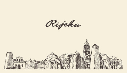Wall Mural - Rijeka skyline Croatia hand drawn vector sketch