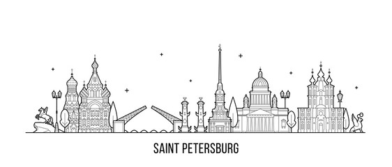 Wall Mural - Saint Petersburg skyline Russia city vector linear