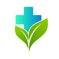 Health care medical cross and leaf,  logo isolated