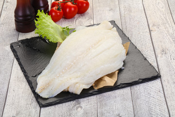 Raw halibut fillet
