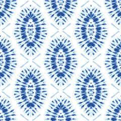 Monochrome Indigo Bright Tie-Dye Shibori Sunburst Diamonds on White Background Vector Seamless Pattern