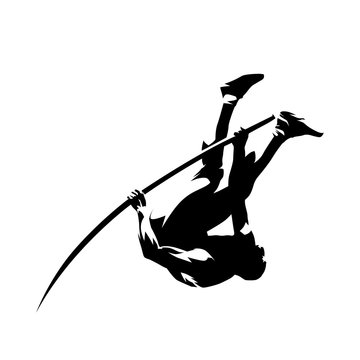 Pole vault, abstract isolated vector silhouette, ink drawing illustration