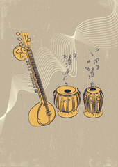Indian musical instruments vector illustration.