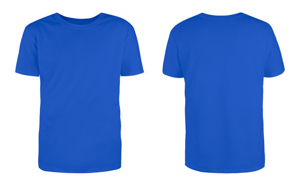 Men's blue blank T-shirt template,from two sides, natural shape on invisible mannequin, for your design mockup for print, isolated on white background...
