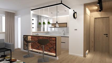 Fototapeta Loft interior in modern flat