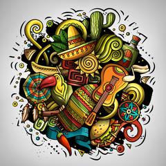 Cartoon doodles Latin America illustration