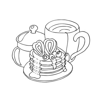 Pancakes with strawberies and blueberies, honey and tea. Hand drawn coloring page. Hand drawn vector illustration.