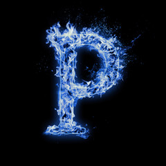 Printed roller blinds Splashing water Letter P. Blue fire flames on black isolated background, realistic fire effect with sparks. Part of alphabet set