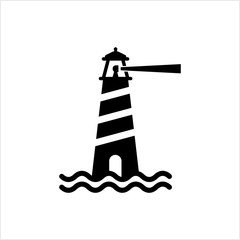 Lighthouse Icon, Light Tower For Navigational Aid
