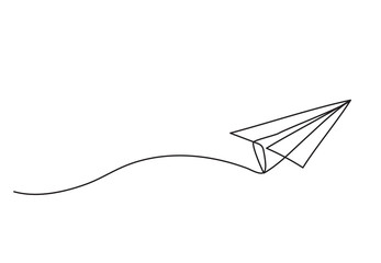 Paper plane drawing vector using continuous single one line art style isolated on white background.