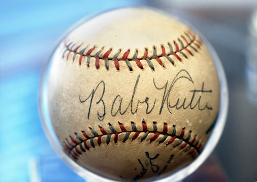 Dallas,Texas  March 23,2004 - Authenic singed Babe Ruth baseball in very good condition.