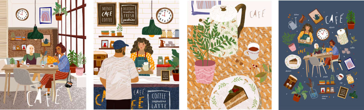 Basic RCafe. Cute vector illustration of people sitting in a restaurant, a man making an order in a bar, a table with food in the kitchen and many objects on a cafe theme. Drawings for poster or bacGB