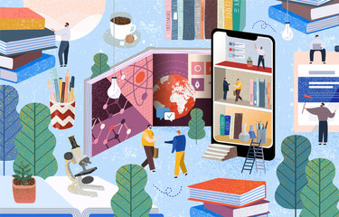 People communicate and gain knowledge through books, the Internet and the phone. Vector illustration of online learning on the World Wide Web, digitalization of business, education and training