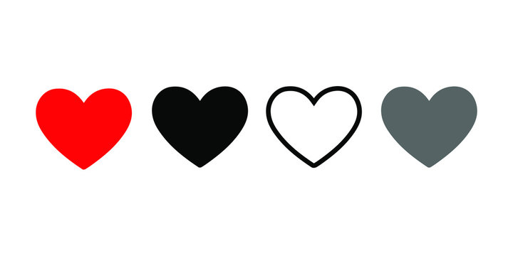 Like and Heart icon. Social nets like red heart web buttons isolated on white background. Live stream video, chat, likes.  Valentines Day. Vector illustration.