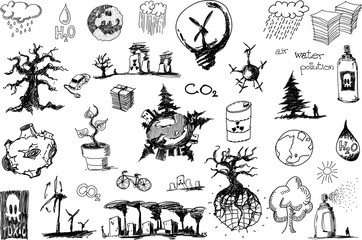 many hand drawn sketches of topics regarding nature nd environment and ecology and trees and wind energy