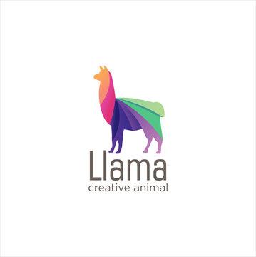 Creative Abstract Colorful LLama Logo  Icon Design Vector, Animal Logo Colorful Design, Alpaca, Vicuna, Huacaya alpaca, guanaco logo Design