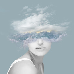 Beautiful woman artwork with wave, water, ocean and clouds, double exposure, overlay, abstact collage can be used as background